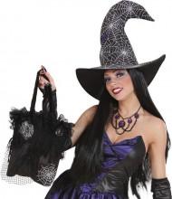 Accessorio Halloween: borsetta con ragnatele