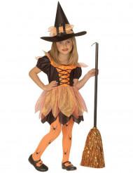 Costume da piccola strega arancione per bambina halloween