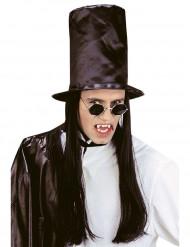 Cappello a cilindro maxi con capelli neri Halloween