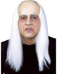 Parrucca capelli lunghi bianchi e cranio pelato adulto