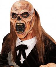 Maschera zombie becchino adulto con capelli Halloween