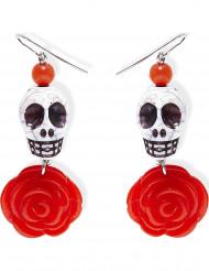 Orecchini con teschio e rose rosse Halloween