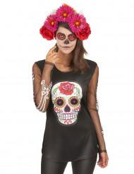 Maglia scheletro colorata donna Giorno dei Morti