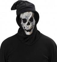 Cappuccio scheletro a paillettes adulto Halloween