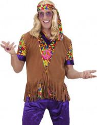 Gilet marrone con frange da hippy