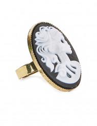 Accessorio Halloween: anello con cammeo scheletro gotico