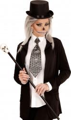 Cravatta metallica teschi adulta Halloween