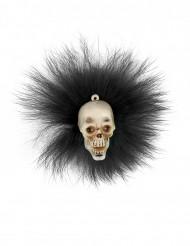 Accessorio Halloween: spilla con teschio e piume