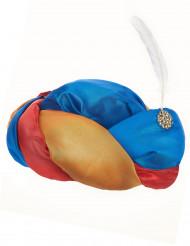 Cappello orientale con piume bianche
