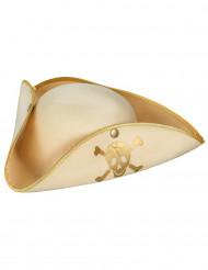 Cappello pirata beige e dorato per donna