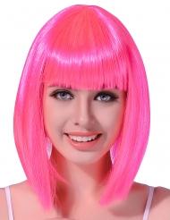Parrucca rosa fluo liscia donna