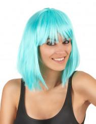 Parrucca media lunghezza caschetto azzurro per donna