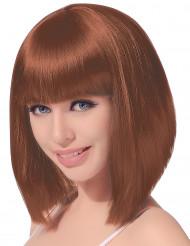 Parrucca media lunghezza caschetto castano per donna