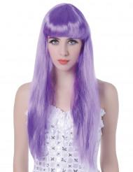 Parrucca lunga violetta con frangetta per donna