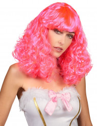 Parrucca media lunghezza ondulata rosa per donna