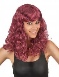 Parrucca media lunghezza ondulata ramato con frangetta per donna