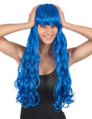 Parrucca lunga ondulata blu da sirena con frangia per donna