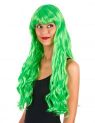 Parrucca lunga ondulata verde fluo da sirena  donna