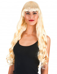 Parrucca lunga ondulata bionda con frangetta per donna