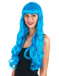 Parrucca lunga ondulata azzurro per donna
