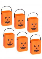 Decorazione di Halloween: 6 secchielli per caramelle zucca