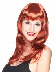 Parrucca lunga rossa con frangetta per donna