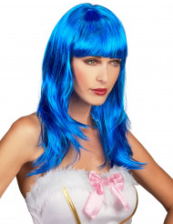 Parrucca lunga blu con frangetta per donna