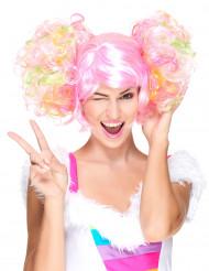 Parrucca con codini rosa chiaro per donna