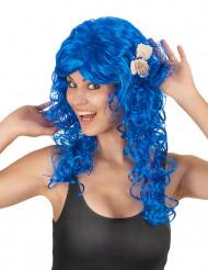 Parrucca lunga e riccia blu da sirena per adulto