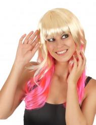 Parrucca Tie and dye bionda e rosa per adulto