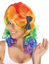 Parrucca multicolore capelli mossi da adulto