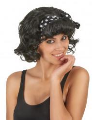 Parrucca corta nera con fiocco per donna
