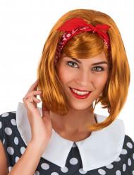 Parrucca a caschetto rossa con bandana per adulto