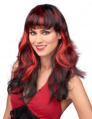 Parrucca nera donna frangia ciocche rosse