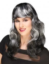 Parrucca nera lunga frangetta meches bianche