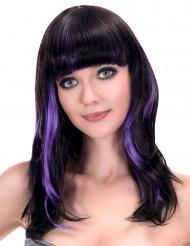 Parrucca nera con frangia e meches viola per donna