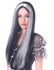 Image of Parrucca lunga nera e bianca da donna