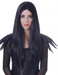 Parrucca lunga 60 cm nera da adulto