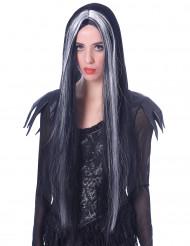 Parrucca da donna di Halloween bianca e nera lunga 75 cm
