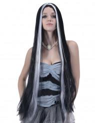 Parrucca lunghissima nera con mêche bianche per adulto