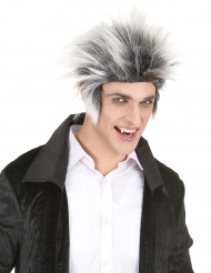 Parrucca da  fulminato  con capelli bianchi e neri per adulto