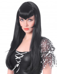 Parrucca vampiro lunga nera con frangia