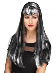 Parrucca vampiro lunga bianca e nera con frangia