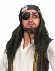 Parrucca Pirata con bandana per adulto