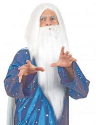 Parrucca da stregone con barba bianca per adulto
