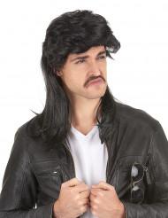 Parrucca taglio  mullet  nera per uomo