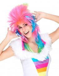 Parrucca da cantante rock multicolore per adulto