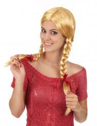 Parrucca bionda con trecce per adulto