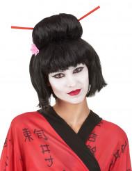Parrucca da Geisha con bacchette donna