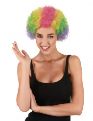Parrucca afro multicolore clown adulto